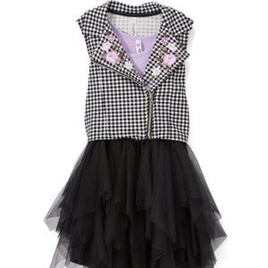 Beautee Lilac Black Dress with Embroidered Vest 12